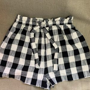 Black & white checked shorts from Topshop